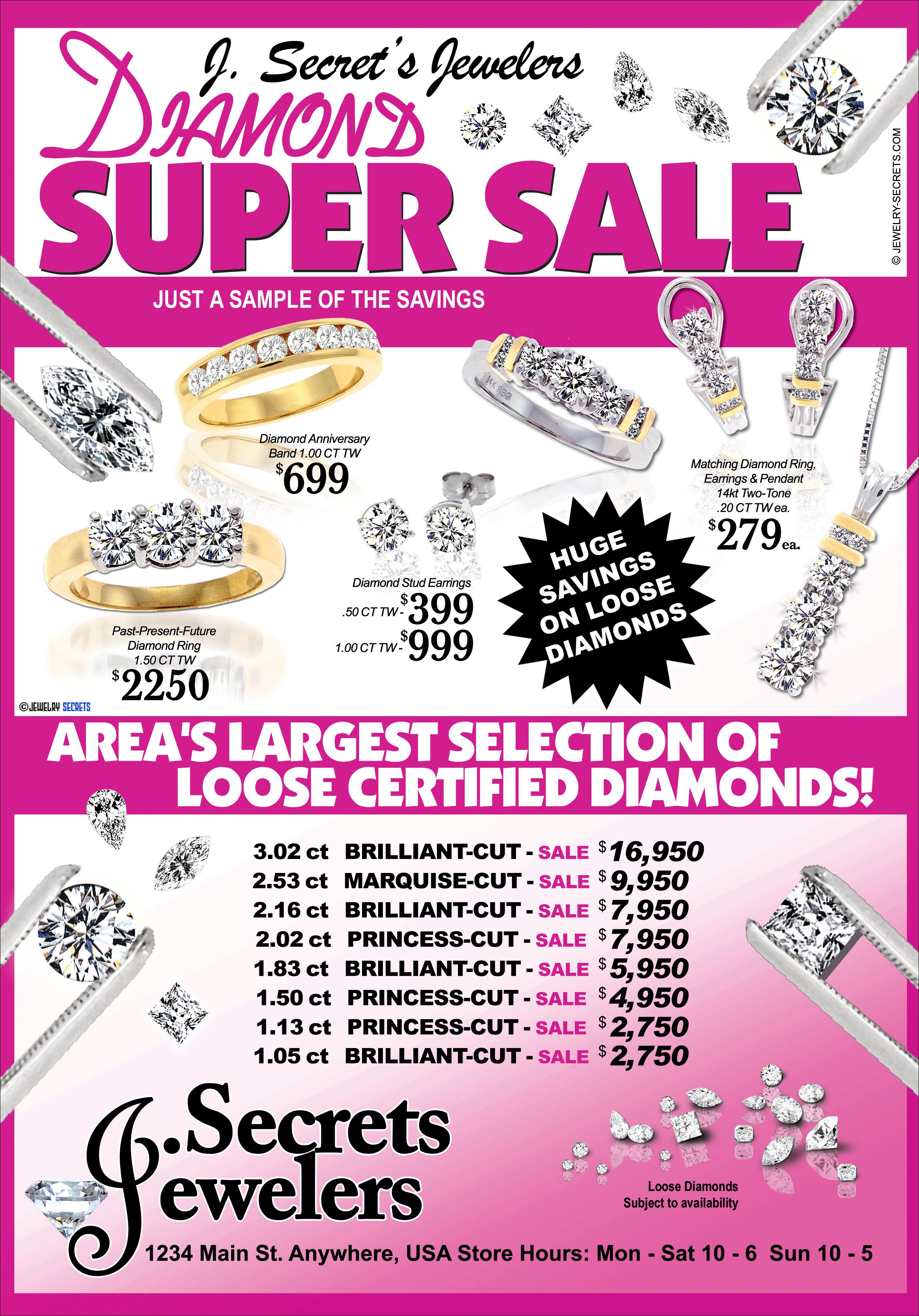 DIAMOND SUPER SALE SAMPLE ADVERTISEMENT – Jewelry Secrets