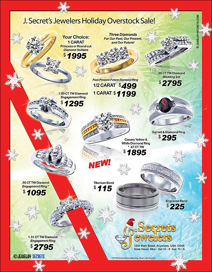 Holiday Jewelry Overstock Sale Sample Advertisement