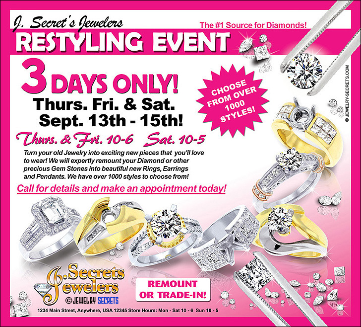 Jewelry Restyling Event Ad Sample Advertisement