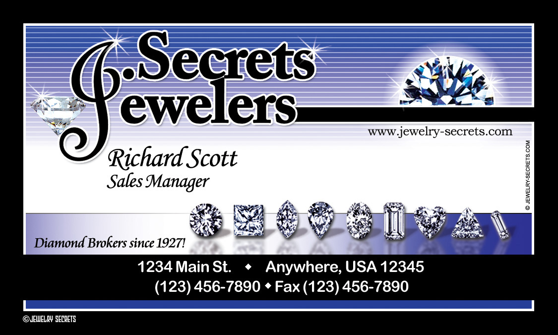 JEWELER BUSINESS CARD SAMPLE LAYOUT – Jewelry Secrets