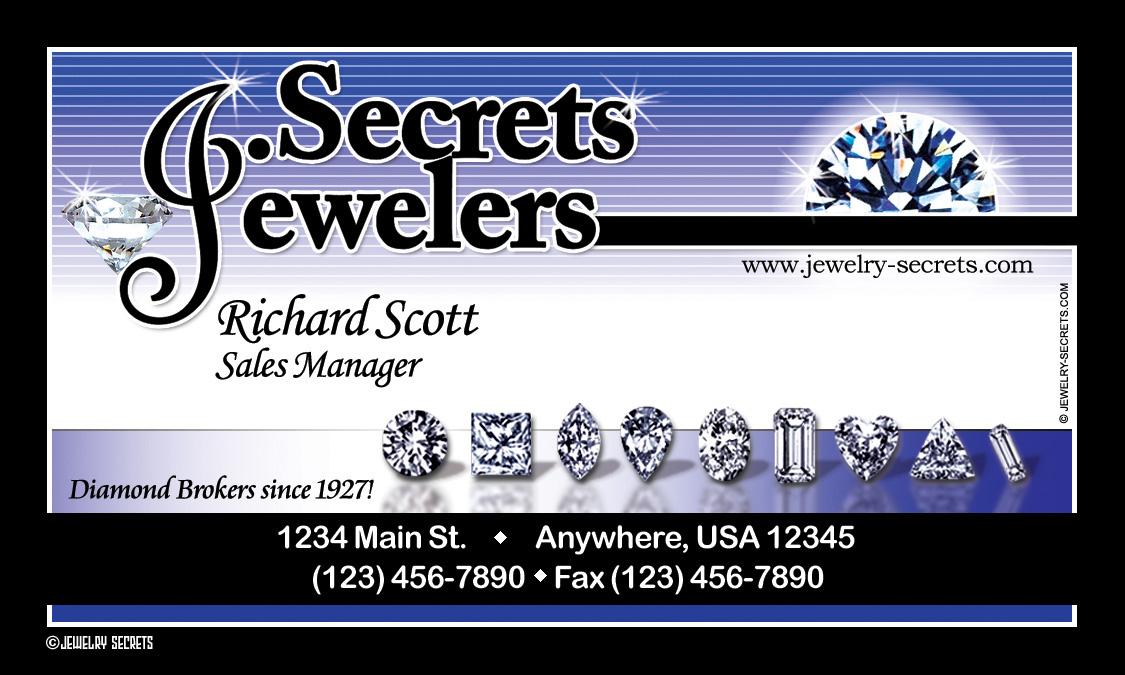 JEWELER BUSINESS CARD SAMPLE LAYOUT – Jewelry Secrets