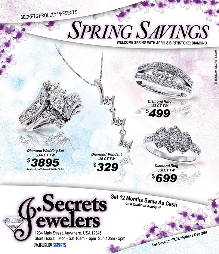 Jeweler's Spring Savings Ad Sample Advertisement