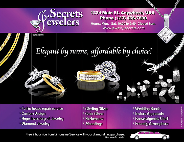 Jewelry Store Diamond Ring Limousine Deal Sample Advertisement