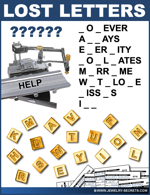 Fun Lost Engraving Letters Jewelry Puzzle