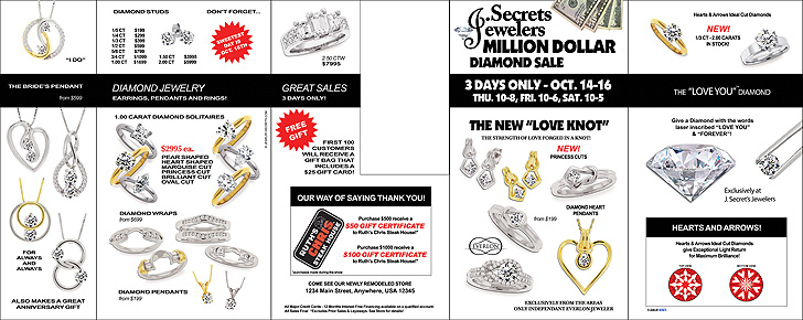 Million Dollar Diamond Sale Event Front Page Sample Advertisement