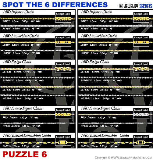 Spot The 6 Differences Fun Jewelry Puzzle 6