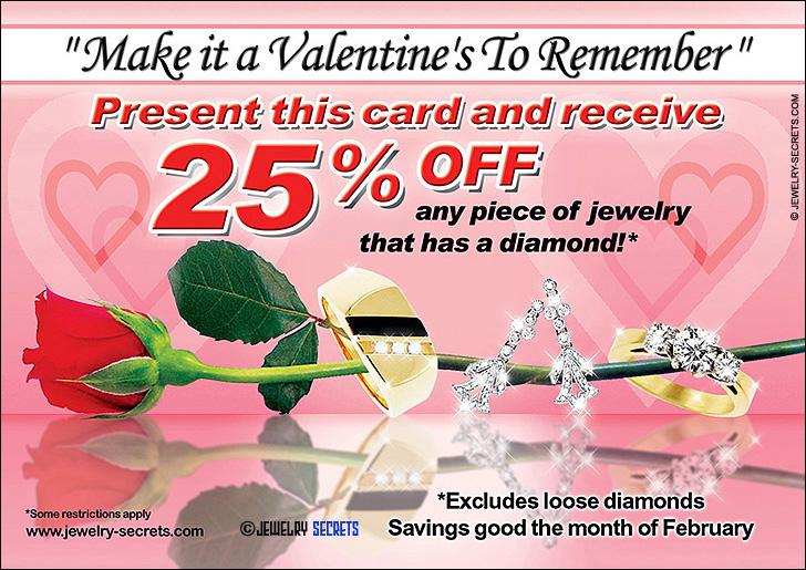 Valentine's Jewelry Postcard Sample Advertisement