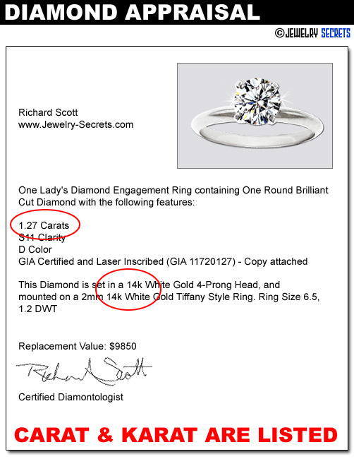 What s the difference between carat and karat jewelry for What does an appraiser look for