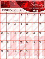 Free January 2013 Calendar