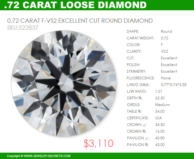 72 Carat VS2 F Excellent Cut GIA Certified Round Brilliant Cut Diamond