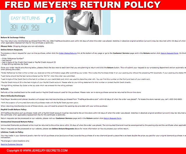 Fred Meyer Jewelers Return Policy