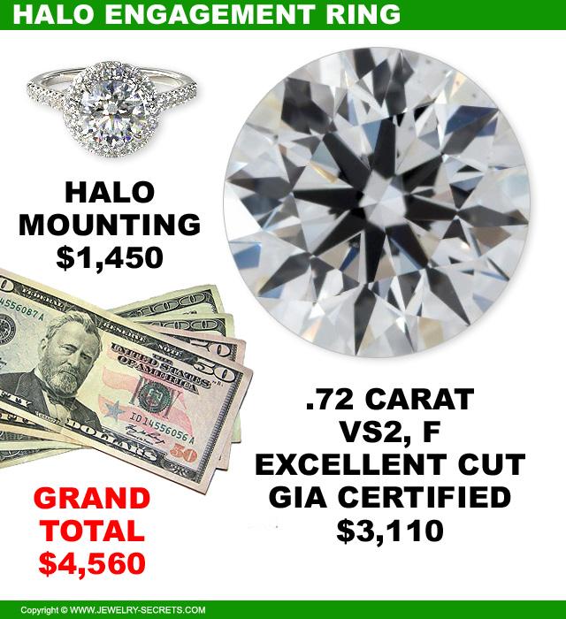 Halo Engagement Ring 72 VS2 F Diamond