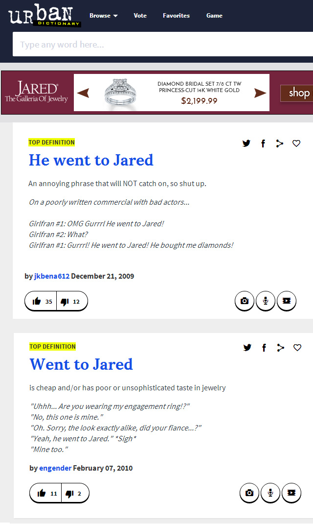 He Went To Jared Urban Dictionary