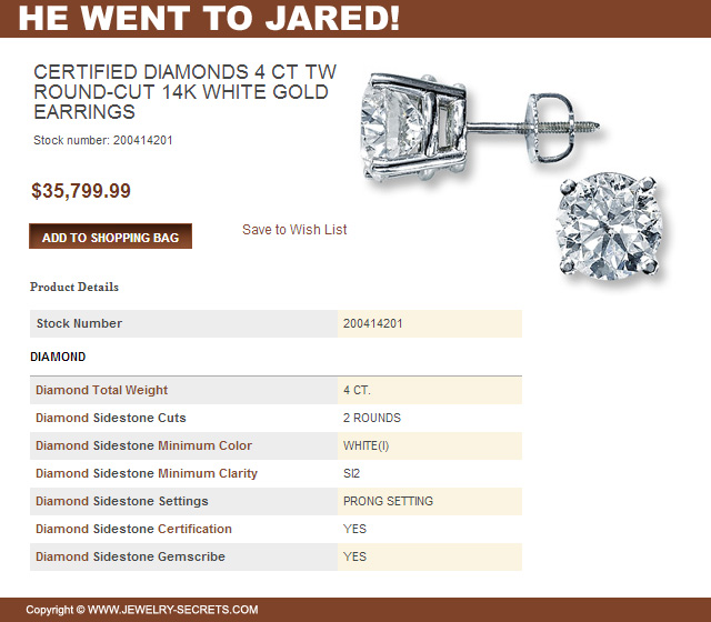Jareds 4 Carat Diamond Stud Earrings