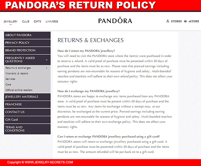 Pandora's Return Policy