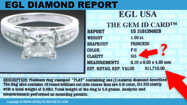EGL Certified Diamond SI3 With Replacement Value