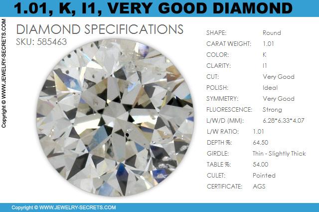 101 K I1 Very Good AGS Certified Diamond