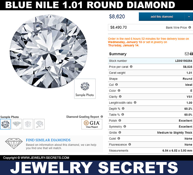 Blue Nile 101 Round Diamond VS1 E