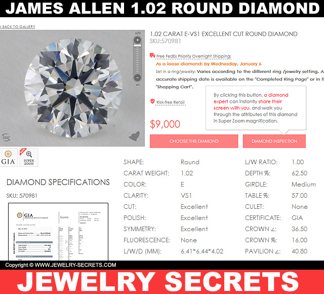 James Allen 102 Round Diamond VS1 E