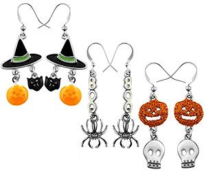 3 pairs halloween drop earrings
