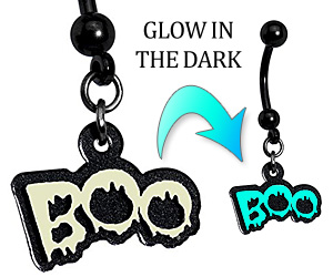 boo glow in the dark belly ring
