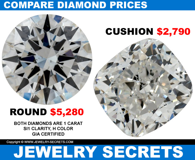 compare round diamond to cushion cut prices