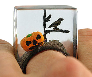 halloween creepy pumpkin ring