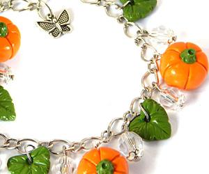 halloween pumpkin charm bracelet