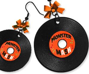 monster mash record earrings
