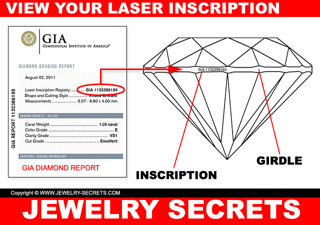 view your diamond laser inscription- on the girdle