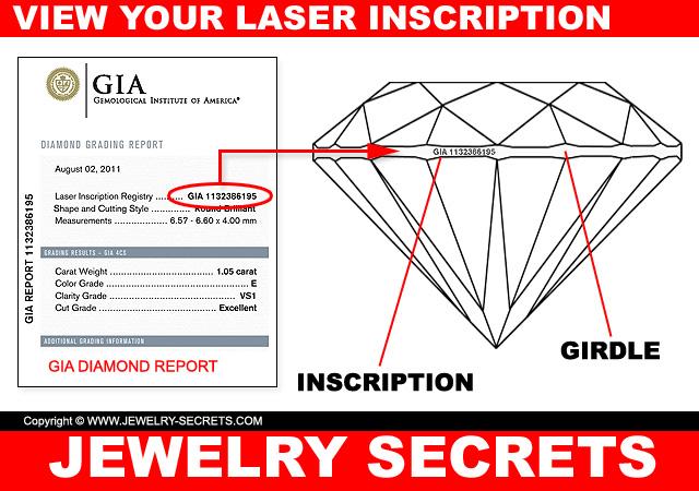 view your diamond laser inscription- on the girdle
