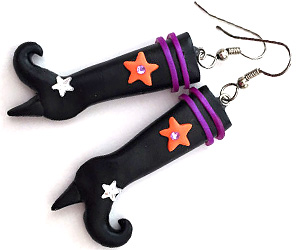 witch boot earrings