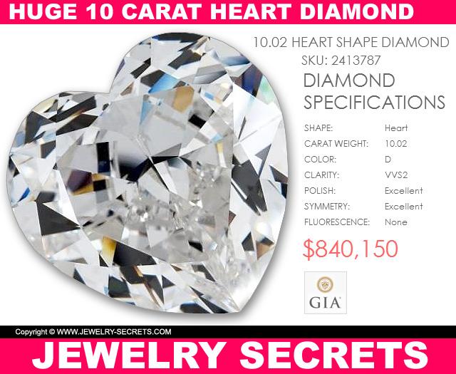 Huge Ten Carat Heart Shaped Diamond