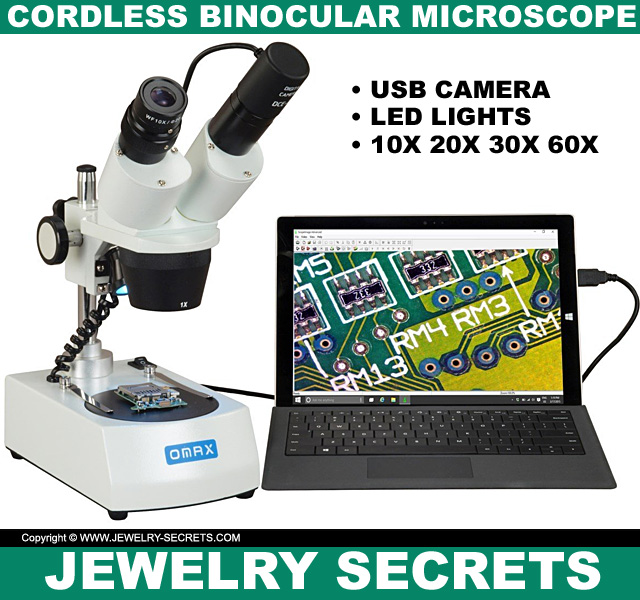10x Cordless Binocular Stereo Microscope with LED Lights USB Camera