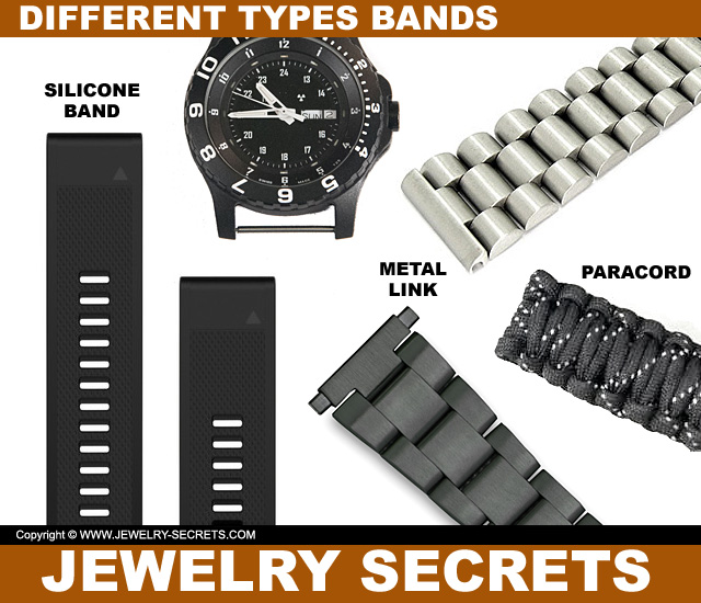 Different Tpes Of Watch Bands Silicone Paracord Metal