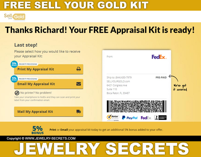 Order Sell Your Gold Free Kit