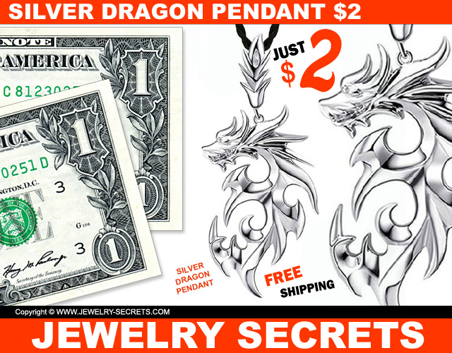 Silver Dragon Pendant Just Two Dollars Free Shipping