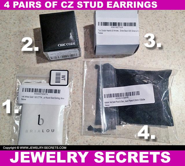 4 Pairs Of CZ Stud Earrings