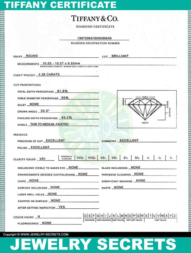 Authentic Tiffany Diamond Certificate