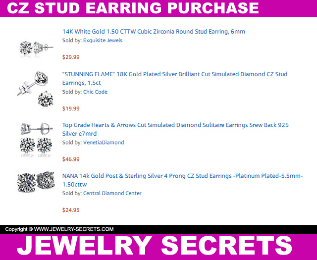 CZ Stud Earring Purchase