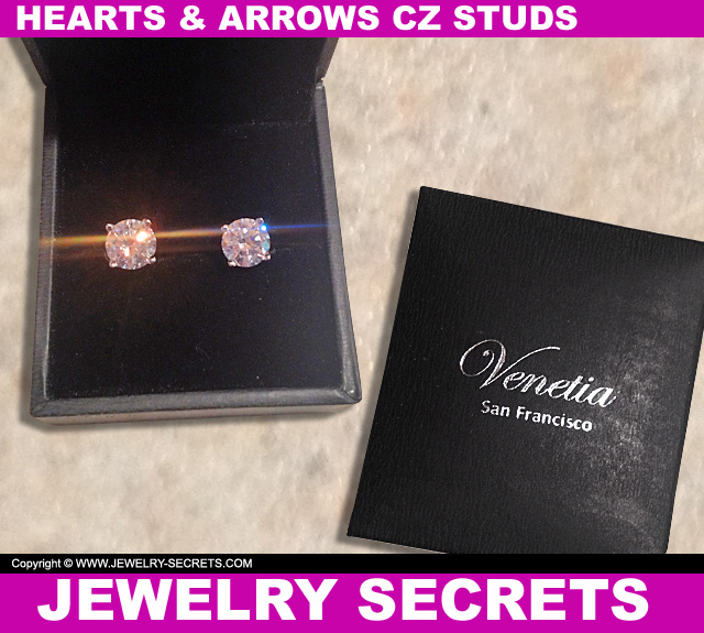 Hearts And Arrows CZ Stud Earrings