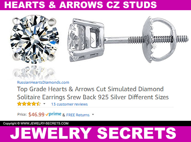 Hearts And Arrows CZ Studs