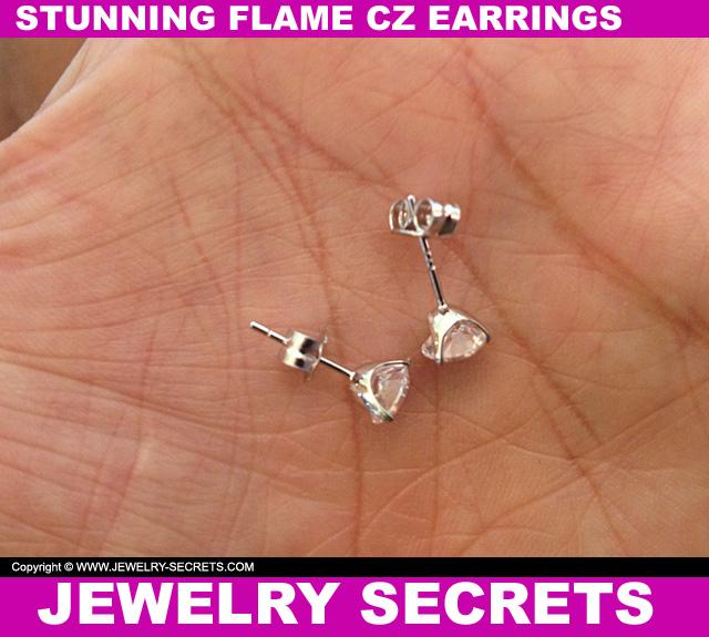 Stunning Flame CZ Stud Earrings