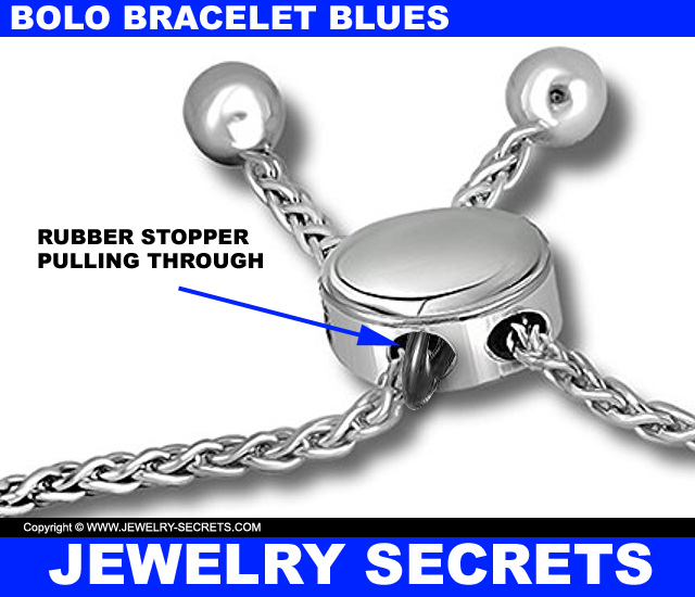 Bolo Bracelet Rubber Stopper Pulling Through Clasp