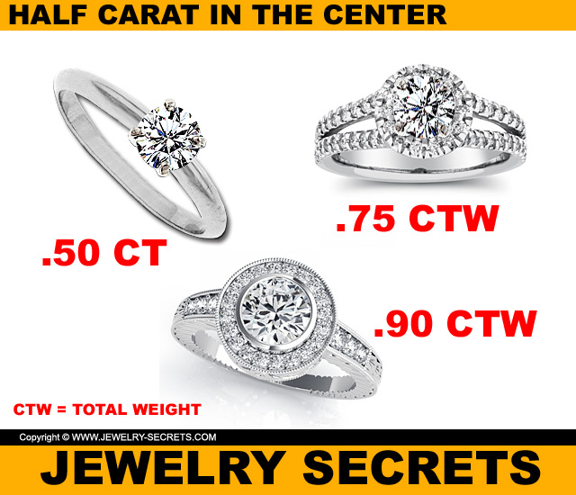 carat p engagement half gold ring solitaire white diamond