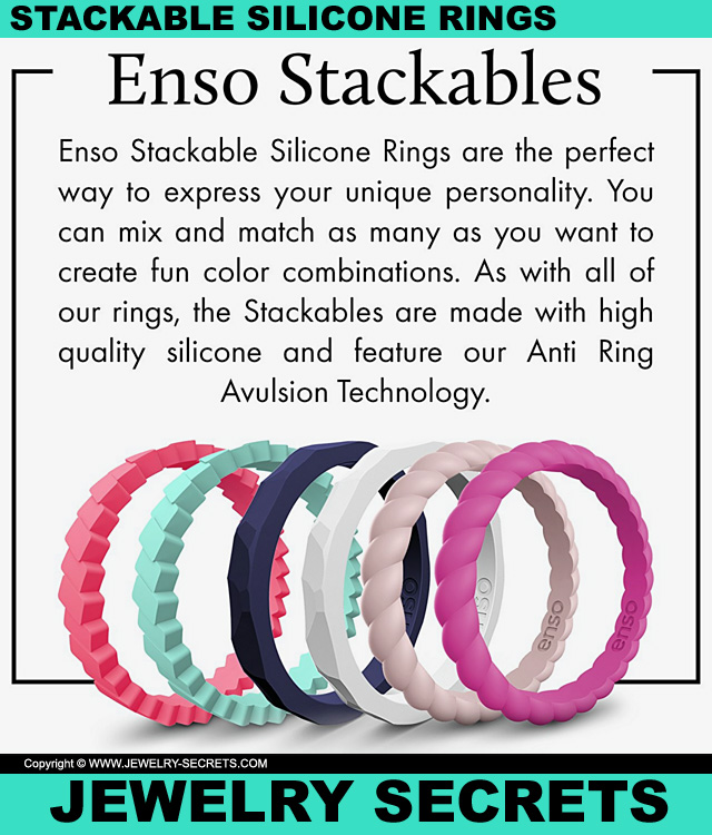 Stackable Silicone Rings Hammered Pyramid Braided Slanted