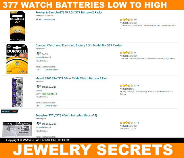 Cheap 377 Watch Battery Priced Low To High