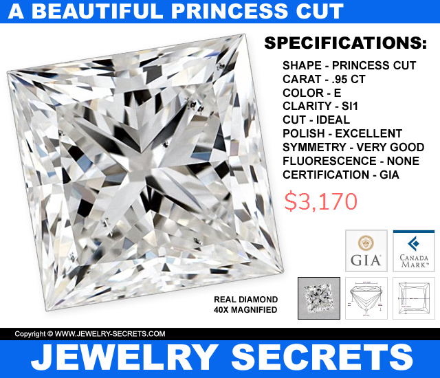 A Beautiful 1 Carat Princess Cut Diamond For 3 Grand