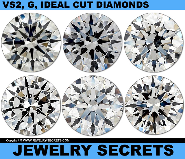All Diamonds Are VS2 Clarity G Color Ideal Cut Diamonds