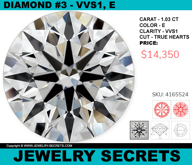 Diamond VVS1 E True-Hearts 1 CT Round